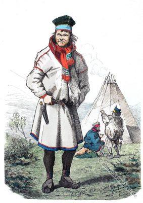 Tracht aus Lappland. Alte Norwegen Trachten