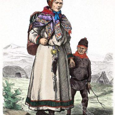 Lappen-Frau aus Karasjock in Finnmark, Norwegen.