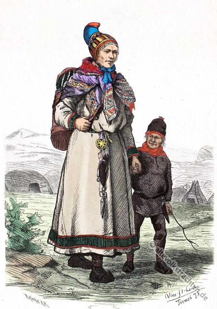 Lappland, Trachten, Norwegen, Samen, Volkstrachten, Skandinavien, Karasjock, Finnmark