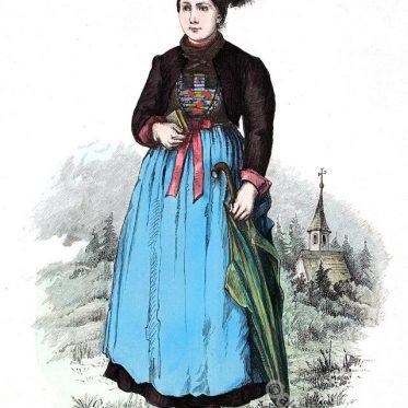Junge Frau mit Mässle aus Montafon, Vorarlberg. Österreich 19. Jh.