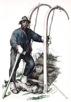 Holzschlitter Alte Vorarlberg Tracht. Österreich Volkstrachten. Volkskostüm 19. Jahrhundert.