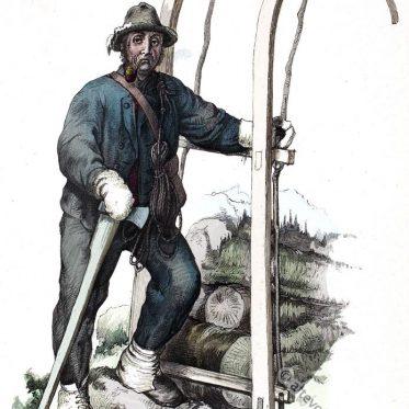 Tracht eines Holzschlitter aus Vorarlberg, Österreich 19. Jh.
