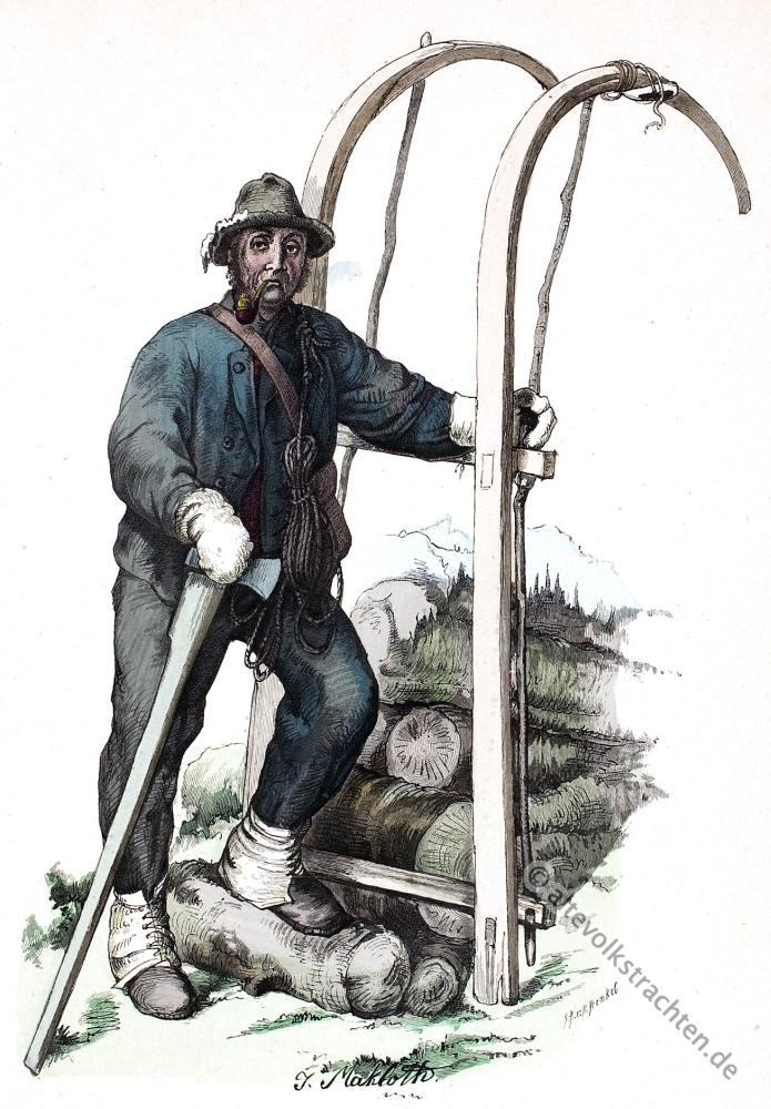 Holzschlitter, Tracht, Vorarlberg, Österreich