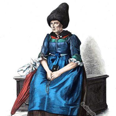 Alte Tracht aus dem Vinschgau, Tirol. 19. Jahrhundert.