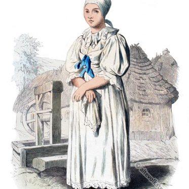 Slowakische Bäuerin in Festtracht um 1840.