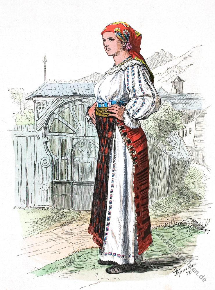 Alte Tracht aus der Walachei, Rumänien. Altes Banat Kostüm. Rumänische Volkstrachten. Original Dirndl.