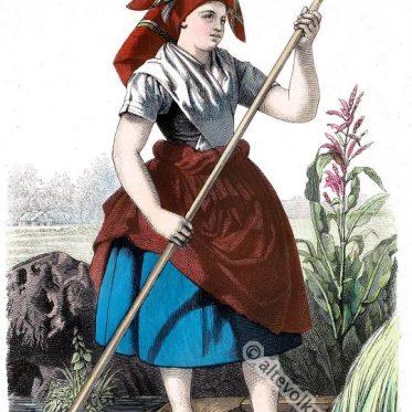 Wendisch, sorbisches Bauernmädchen aus dem Spreewald.