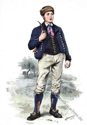 Thüringen, traditionelle Thüringer Trachten, historische Kostüme, Modegeschichte, Kostümgeschichte, Bauernbursch, Bauer