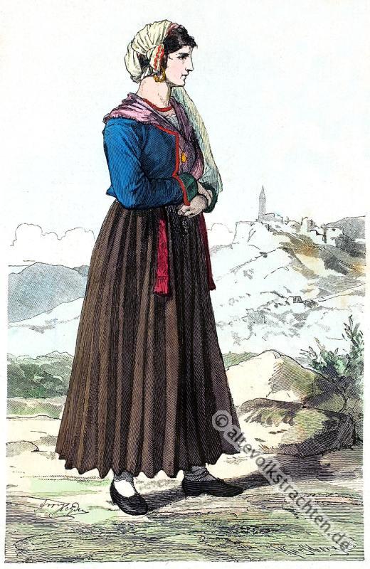 Traditionelle Kroatien Tracht. Kroatische Volkstrachten. Historisches Istrien, Labin Kostüm.