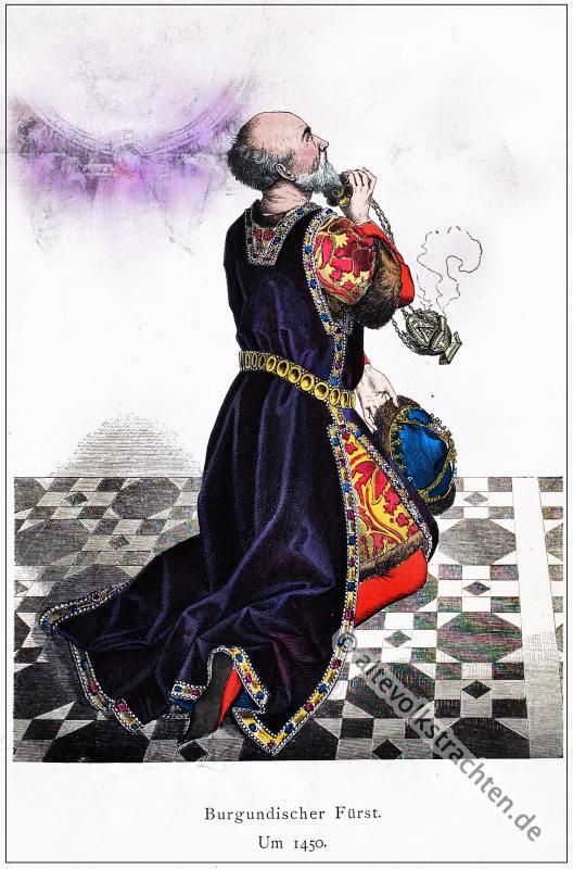Fürst, Burgund, Kostüm, Historische Kleidung, Kostümgeschichte, Modegeschichte
