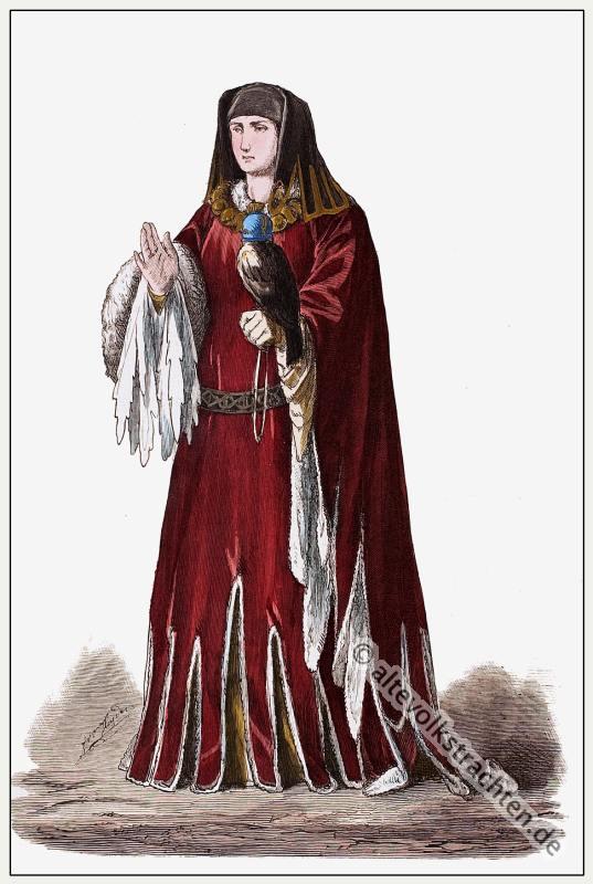 Burgundische Fürstin, Burgund, Mittelalter, Kleidung, Kostümgeschichte, Modegeschichte