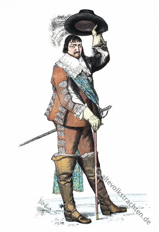 König Christian IV von Dänemark. Historisches Barock Kostüm. Bekleidung und Mode im 17. Jahrhundert.