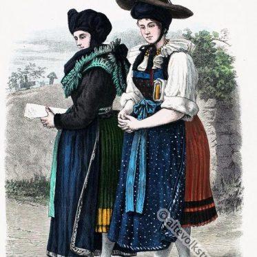 Wendische Bäuerinnen in der Tracht von Lebus, Mark Brandenburg.