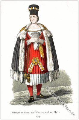 Friesland Tracht, Westerland, Friesische Tracht, Historisches Kostüm, Sylt Trachten, Deutsche Volkstrachten.