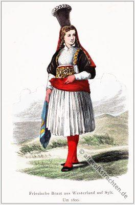 Friesische Braut, Tracht, Sylt, Westerland, Historisches Brautkostüm, Schleswig-Holstein Trachten, Deutsche Volkstrachten.