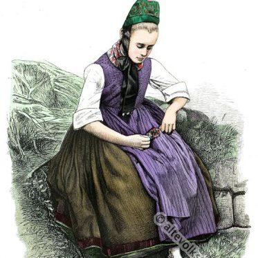 Bauernmädchen in alter Tracht aus Marburg, Hessen.