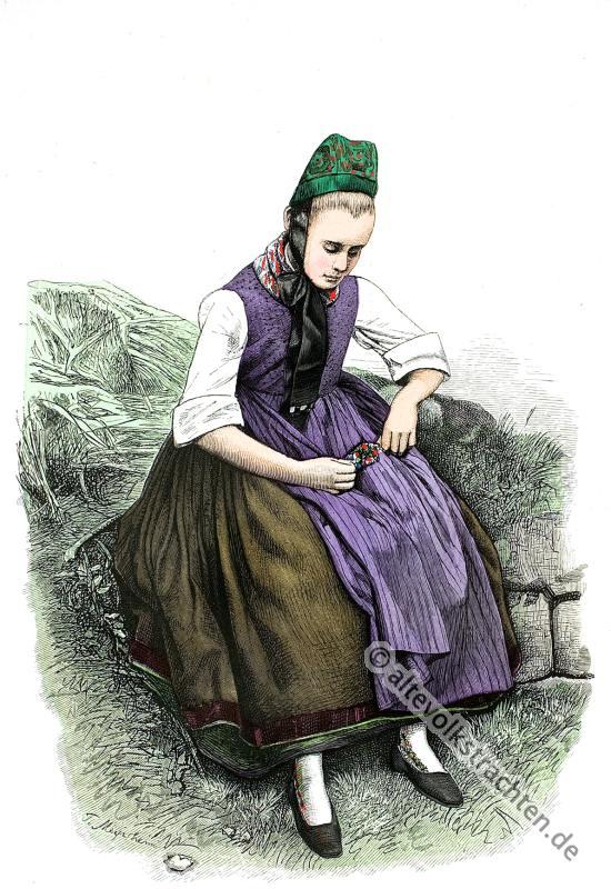 Trachten, Bauertrachten, Historische Kleidung, Ockershausen, Marburg, Kurhessen,
