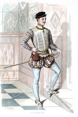 Deutscher Edelmann, Spanische Hof Mode, Pluderhosen, Kostümgeschichte, Modegeschichte,16. Jahrhundert
