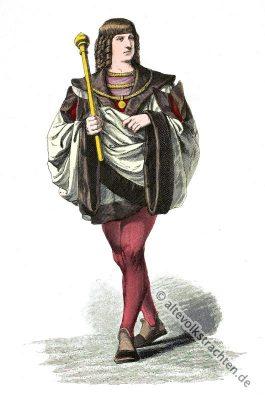 Burgunder Mode, Mittelalter, Kostüm, Kleidung