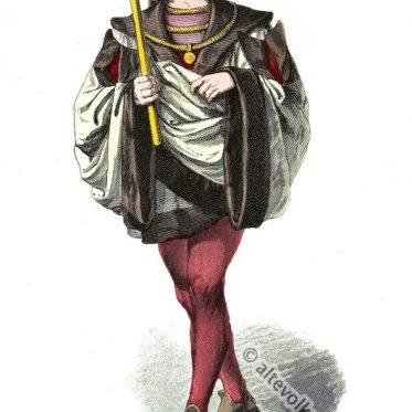 Vornehmer deutscher Mann in der Mode des 15. Jahrhundert.
