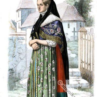 Mädchen aus Gross-Denkte bei Wolfenbüttel, Herzogtum Braunschweig.