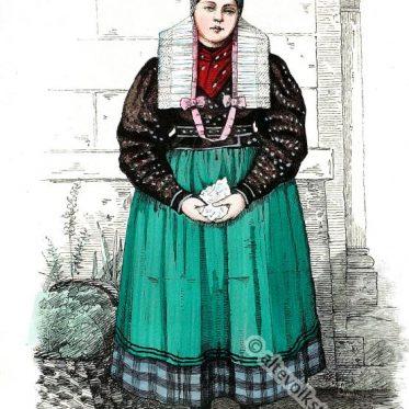 Bauernmädchen aus Neuland bei Neisse, Schlesien.
