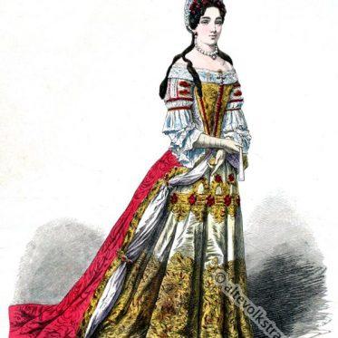 Barock Kostüm einer Edeldame vom Hof Ludwig XIV.