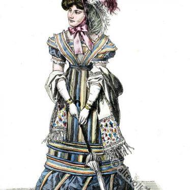 Dame in Pariser Strassenkostüm, Frankreich 1823.