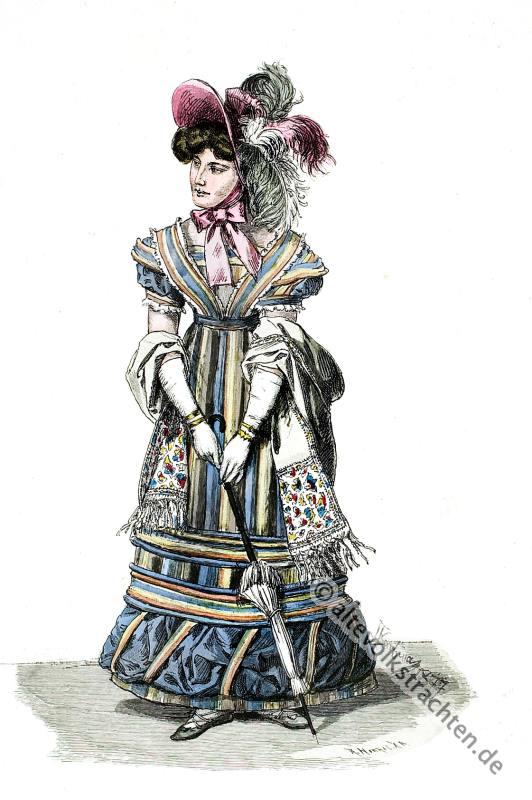 Strassenkostüm, Empire, Frankreich, Kostümgeschichte, Mode, Illustration,