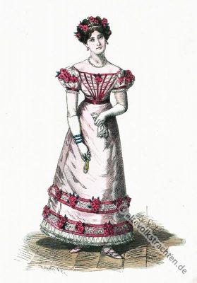 Frankreich 18. Jahrhundert Kostümgeschichte. Empire Ballkleid Kostüm.