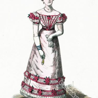 Dame im Pariser Ballkleid, Frankreich 1822.