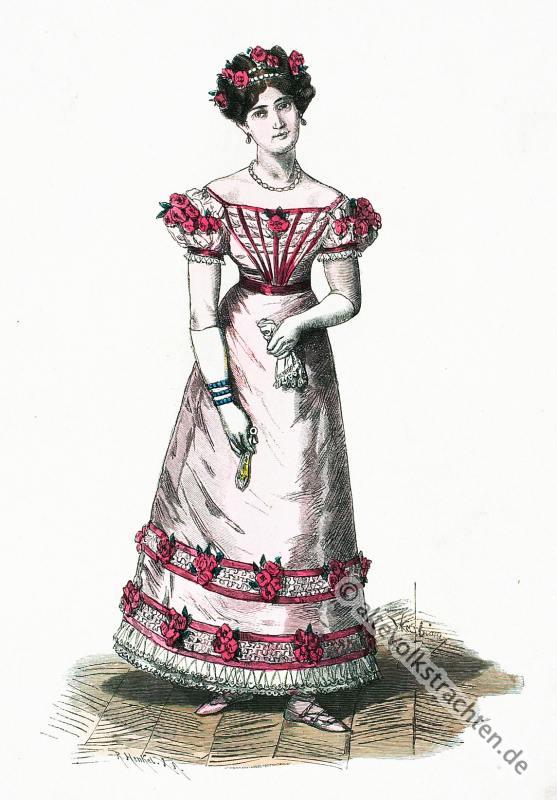 kostümgeschichte, Empire, Frankreich, Paris, Ballkostüm,