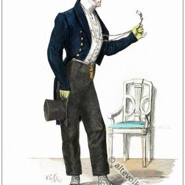 Französischer Dandy im Empire Kostüm 1826.