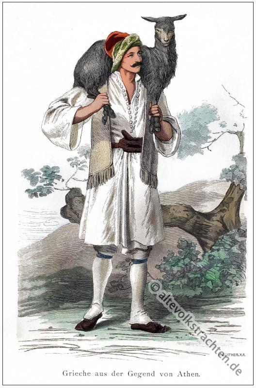 Franz Lipperheide, Hirte, Athen, Trachten, Kostüm, National, Kleidung,