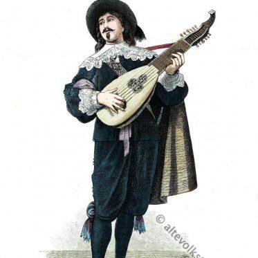 Holländischer Lautenspieler im Barock Kostüm. Um 1635.