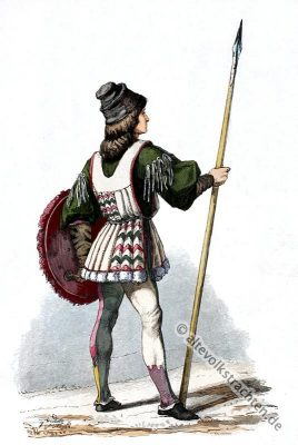 Italienischer Jüngling, historische Kleidung, Modegeschichte, Kostümgeschichte, Renaissance,
