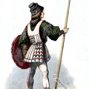Italienischer Jüngling in Renaissance Kostüm um 1670.