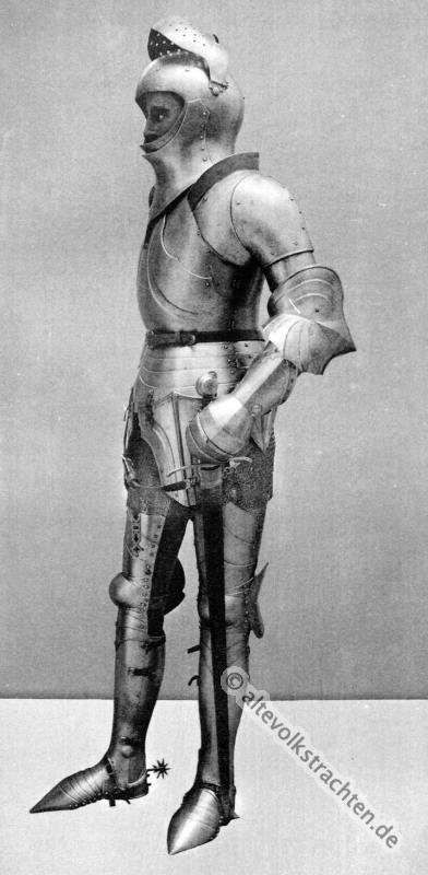 Ritter In Plattenharnisch Um 1450 Mittelalter Ritterrüstung