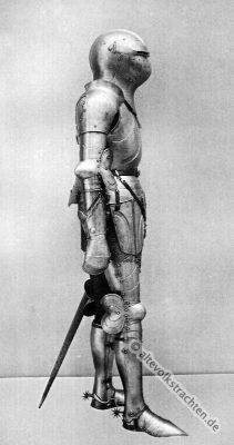 Plattenharnisch. Ritter Kostüm. Mittelalter Ritterrüstung. 15. Jahrhundert Soldat. Rüstung