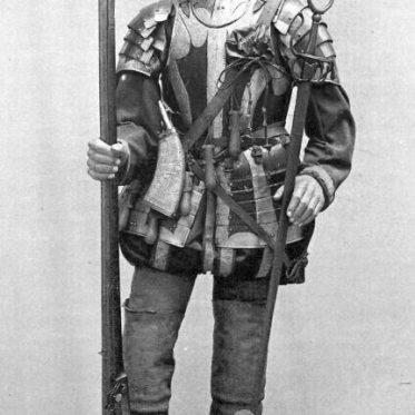 Musketier aus der zweiten Hälfte des XVI. Jahrhunderts.