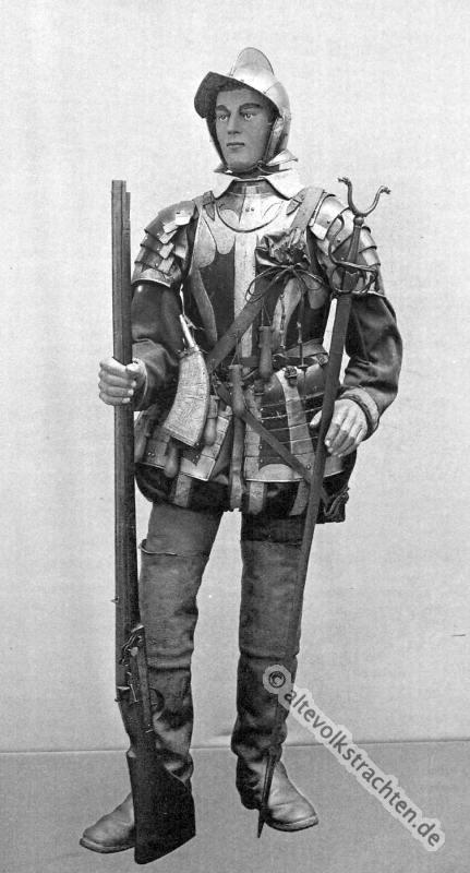 Musketier, Harnisch, Degen, Muskete, Luntenschloss. Ritterrüstung. 16. Jahrhundert Soldat