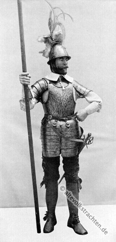 Pikenier, Infanterie, Soldat, Pike, Degen, 16, Jahrhundert, Rüstung, Bewaffnung