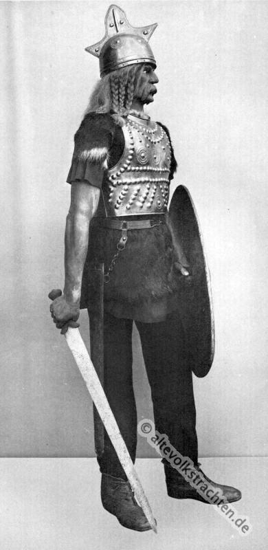 Gallien, Krieger, Antike, Gewandung, Modegeschichte, Kostümgeschichte, historische Kleidung, Karl Gimbel