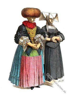 Kostümgeschichte. Deutschen Volkstrachten im 17. Jahrhundert.