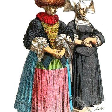 Kleidung des Spätbarock. Bürgerliche Frauentrachten aus Strassburg.