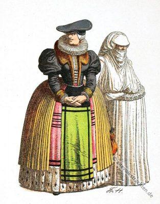 Kostümgeschichte. Deutschen Volkstrachten im 16. Jahrhundert.