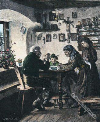 Bauernmahlzeit, Bauernstube, Herrgottswinkel, Carl Maria Seyppel, Oberbayern,