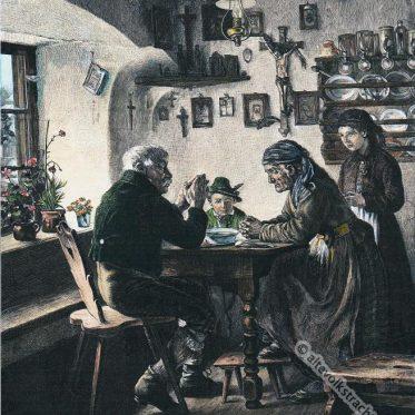Oberbayerische Bauernmahlzeit um 1890.