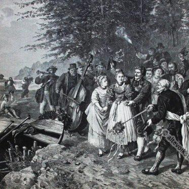 Der oberbayerische Hochzeitszug um 1885.