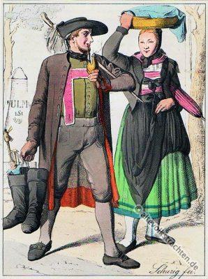 Neu-Ulm, Bayern, Bauerntrachten, Trachten, Volkstrachten, historische Kleidung, Modegeschichte, Kostümgeschichte